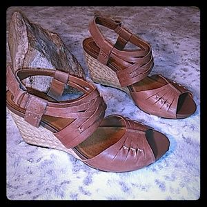 Clarks brown leather espadrille sandals